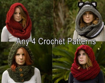 Any 4 Crochet Patterns, Scarf Patterns Discount Package
