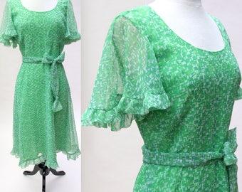 Vintage 70s Dress / Vintage Posh by Jay Anderson Print Dress / Green Chiffon Dress