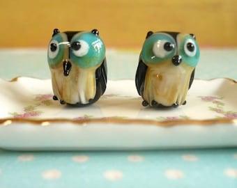 10 pieces Lampwork Glass Owl Bead, Glass Bird Beads, Animal Beads