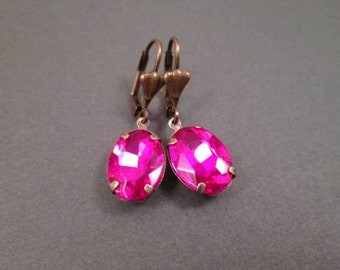 Rhinestone Earrings, Fuschia Glass Stones, Brass Dangle Earrings, FREE Shipping U.S.