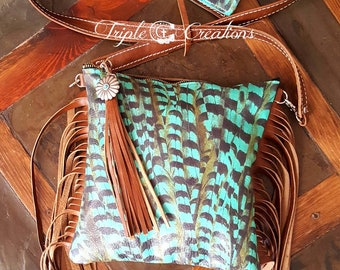 Turquoise Leather Crossbody and Wallet Set