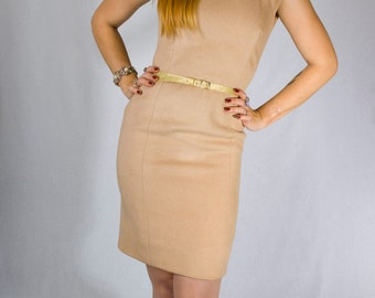 Vintage 60s Tan Camel Brown Sheath Mohair Wiggle Party Dress (sz S M 2 4 )
