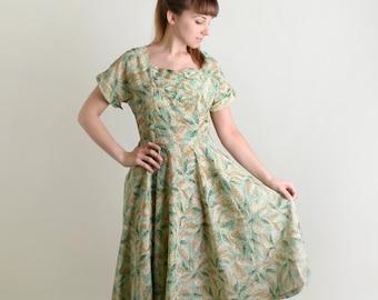 Vintage 1950s Dress - Sheer Mint Leave Print Light Day Dress - Novelty Print Rockabilly VLV - Large Summer
