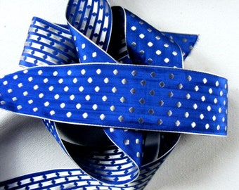 Vintage 1940's French Polka Dot Silk and Rayon Embroidered Ribbon 1 3/8 Inch Silver on Blue