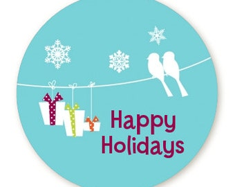 Happy Holidays on a String - Personalized Round Christmas Sticker Labels - Available in 8 Different Sizes - Custom Design