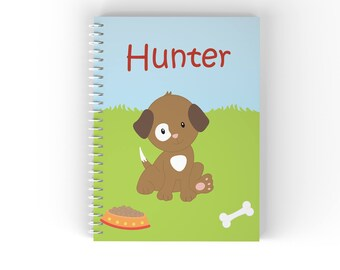 Puppy Personalized Notebook - Puppy Dog Brown White Spot Eye Grass with Name, Customized Spiral Notebook Back to School