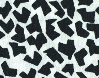 """1/2 YARD, CREPE PRINT, White Black Abstract, 46"""" Wide Fashion or Craft Fabric, Lightweight Polyester, B37"""