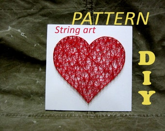 DIY String Art Kit Pattern Heart, Pattern and Tutorial, Included Download 3 Sizes