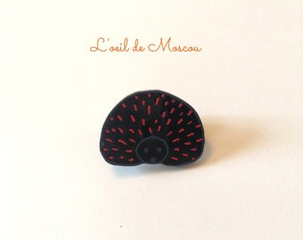 pin's plastic crazy black Hedgehog