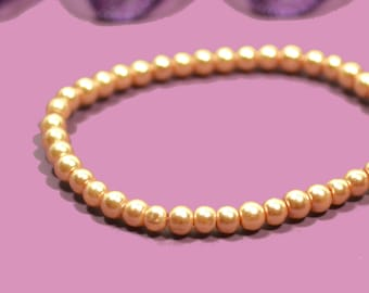 100 beads 3mm imitation Pearl champagne color