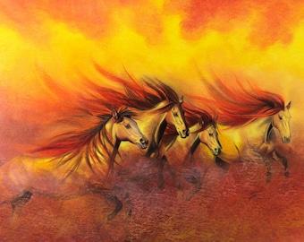 Prismacolor art print of Fire Horses 10x7