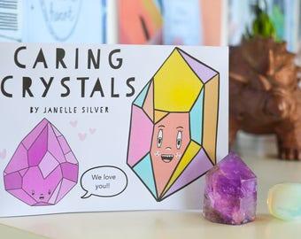 Caring Crystals Zine - Handmade Zine, A6, Full Colour, Original Illustrations, Mental Health Zine, Self-Care, Small Gift