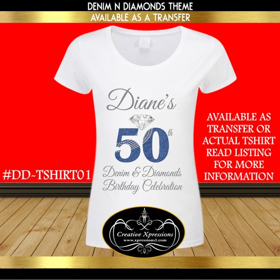 Birthday Bling T Shirts For Adults Denim And Diamonds 50th Digital Shirt