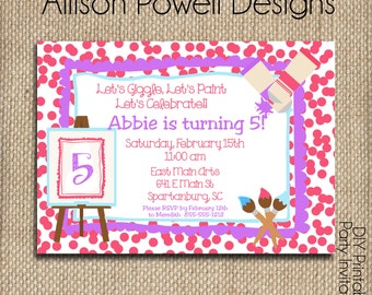 Paint Party, Paint Your Own Canvas Birthday Party, Painting Party Invitations - Girls Age