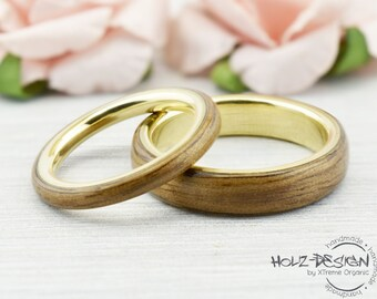 Gold and Wood Bentwood Ring matching Rings Yellowgold couple Ring Wooden Custom order wood rings couples engangement wedding rings