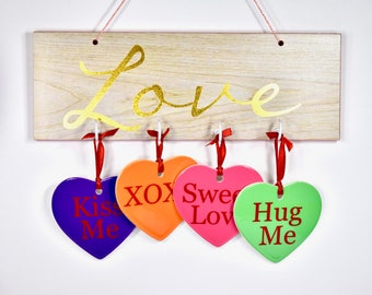Valentines Day Ornaments*Conversation Hearts*Heart Ornaments*2018 Ornaments*Valentines Day Decor*Valentines Ornament*Valentines Day Gifts