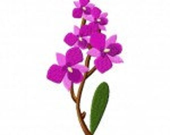 Orchid Flower Machine Embroidery Design