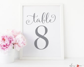 Gray Table Numbers. 4x6 Table Numbers. Printable Table Numbers. Table Number Signs. Table Number Wedding. Wedding Table Numbers.