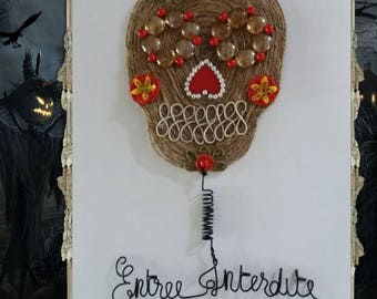 """Entry forbidden"" - Mexican skull door plaque"