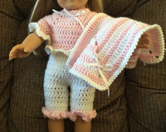 American Girl Doll Pajamas, Slippers and Blanket