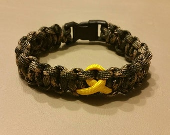 Military Deployment Support and Awareness Ribbon Paracord Bracelet, Camo With Yellow Ribbon Laced Paracord Bracelet