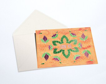 Thank You Notecard Stationery Set | Sunset Orange, Floral, Watercolor design