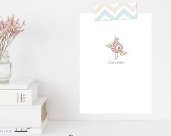 Greeting Card   Winky Wonky Birdies Collection   Just A Note