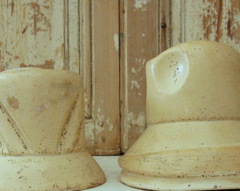 RARE Belgian Antique Hat Mold for Women's Derby Early 1900s Paper Mache Ceramic Marked