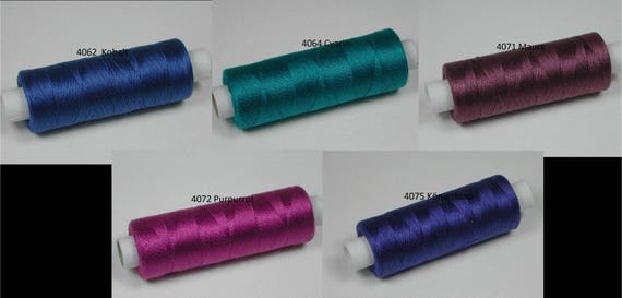 Cotton, knitting and crochet for miniature handicraft, color 4062 Cobalt, 4064 Cyarin, 4071 maure, 4072 purple, 4075 royal blue