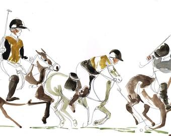 Horses Polo Game Watercolor Drawing - Original
