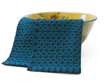 Turquoise and Navy Blue Tea Towel, Hand Woven Tea Towel Handwoven, Navy and Turquoise Tea Towel, Navy Kitchen Towel, Turquoise Kitchen Towel