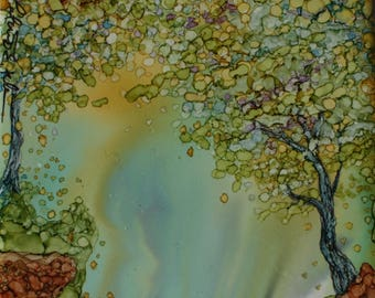 HIGHCLIFF PARK - 4.25 x 4.25 Original Alcohol Ink Painting on Ceramic Tile