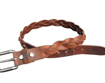 3 Brais Mystery Belt - 70's Style Leather Belt - Christmas Gift for Her