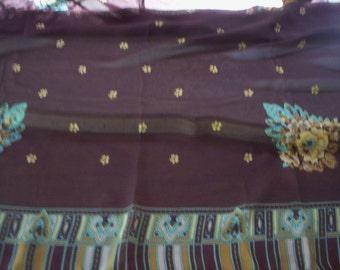 Vintage sheer shawl/Shawl wrap/Sheer shawl/Spring Shawl/Vintage shawl/Head piece/Throw Scarf/Head wrap/Green blue and brown floral shawl