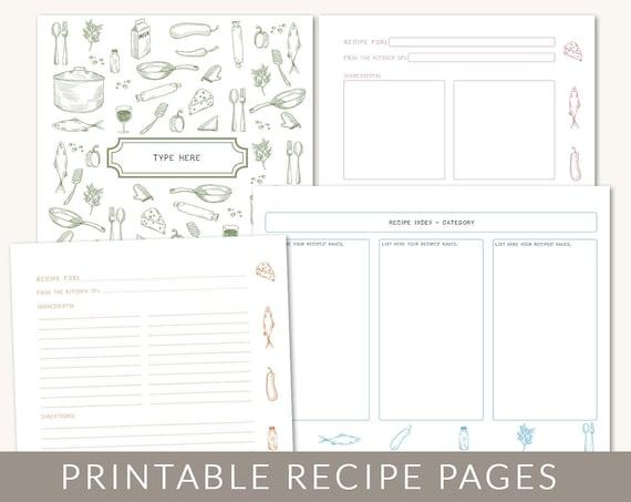 Diy custom recipe binder cookbook printable pages 40 for Free recipe templates for binders