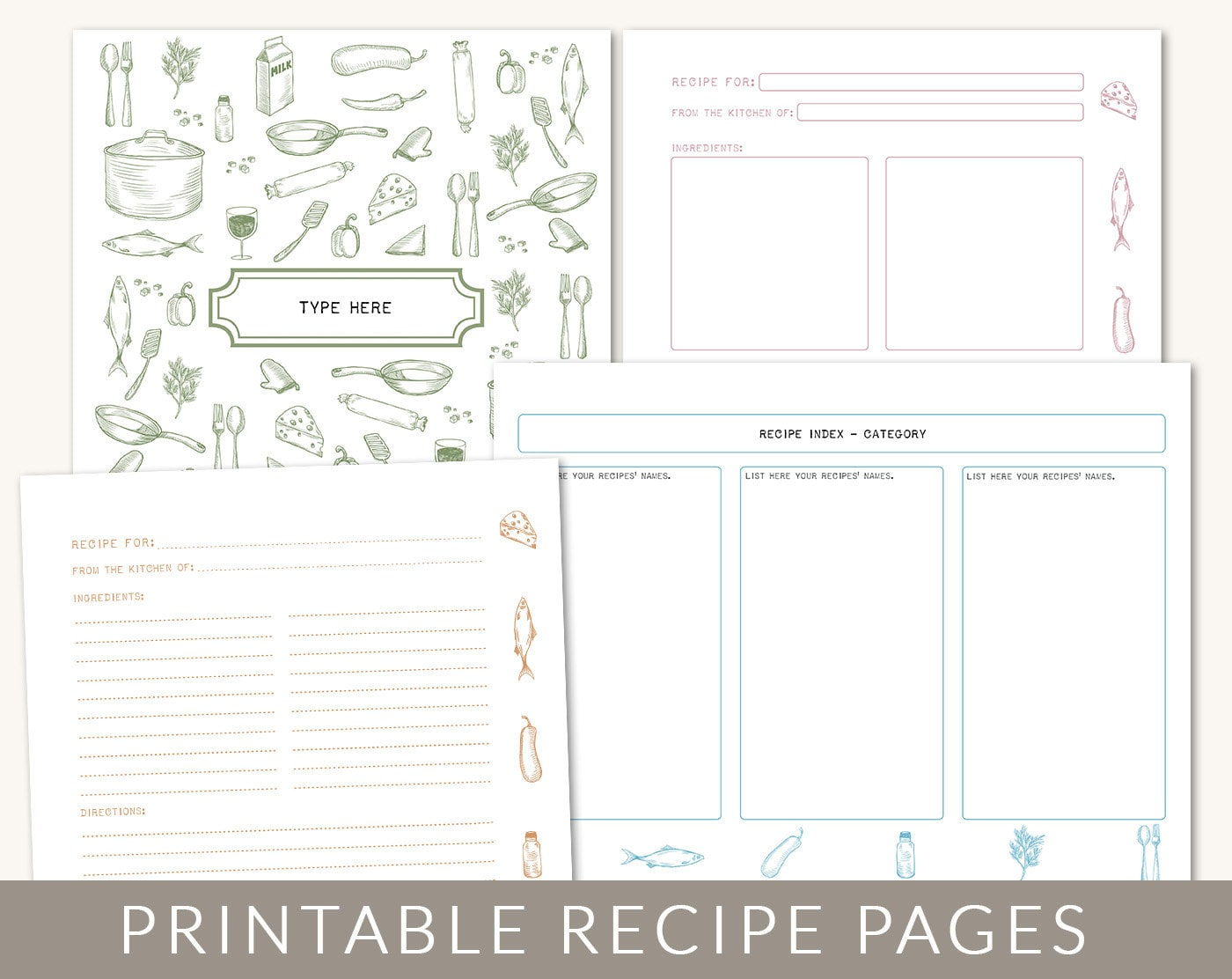 Diy custom recipe binder cookbook printable pages 40 for Cookbook template mac