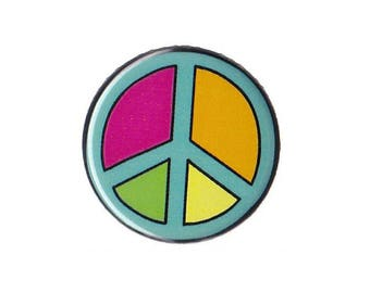 "Hippy Peace Sign Symbol Button Badge Pinback 1"", 1.25"" or 2.25"" anti-war hippie"