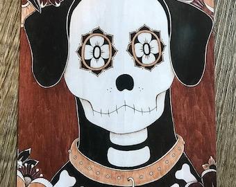 "Day of the Dead/Sugar Skull Dog Vinyl Magnet, ""Dog of the Dead"""
