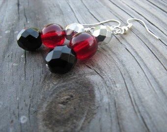 Red, Black, and Silver Glass Beaded Earrings