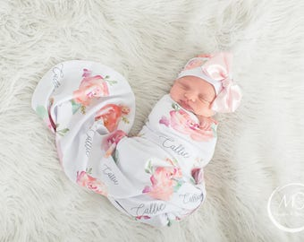 Baby Girl Personalized Baby Blanket - Floral Baby Blanket - Gift For Baby Girl - Peony Baby Bedding - Watercolor Flowers - Baby Shower Gift
