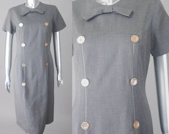 Margaret sheath dress  | 1960s sheath dress | vintage 50s gray dress