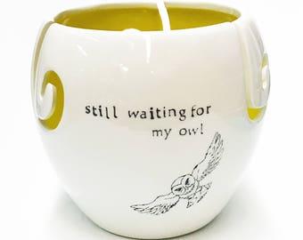 Waiting for my owl- yarn bowl extra large three holes
