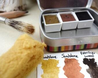 Mini Watercolor Palette, 3 watercolors in half pans, artist travel palette, stone pigments, ochre pigment, papier mache tin box artist