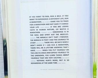 Marathon quote print - Running quote. Running poster. Running print. Personalised marathon runner gift