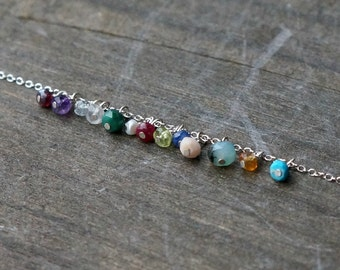 Birthstones, add a genuine gemstone to your current order, personalize your silver necklace with a tiny birthstone charm
