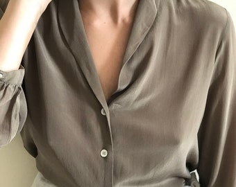 silk button down- brown