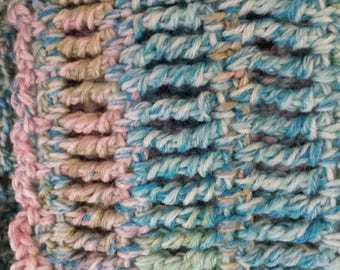 Hand crocheted scarf super wash merino wool 76 in x 4 in thin warm turquoise  green light blue