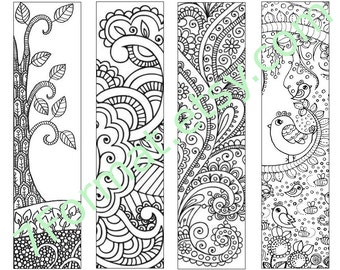 Bookmarks Coloring Printable, Instant Download. 13.