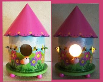 Happy Flowers Birdhouse Nightlight Lamp