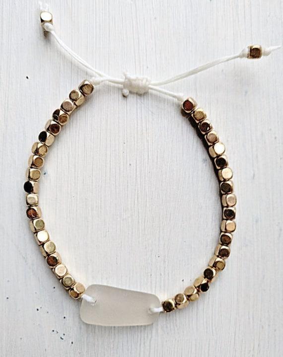 Sea Glass Bracelet // Adjustable Bohemian Beaded Bracelet // The Golden Sands Bracelet // Bohemian